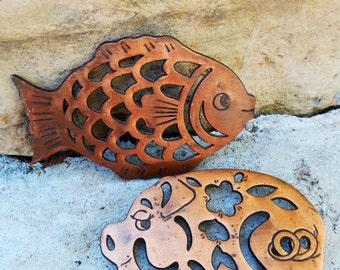 Heavy Copper Trivets - Pig & Fish
