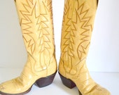 Cowboy Boots Rustic Off White Leather Weathered Cream