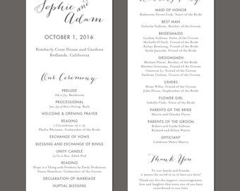 Vintage Script Printable Wedding Program - DIY Ceremony Program - Classic, Calligraphy, Gray
