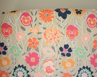 Fitted Crib Sheet: Warm Flowers    by JuteBaby
