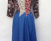 Vintage country boho 1980 dress denim with chiffon panels by Tickets CA sz XS