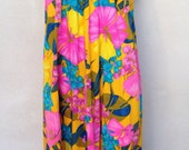 Vintage Muumuu long dress yellow floral by Stan Hicks Honolulu sz M/L