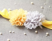 Bridal Flower Sash Belt - Wedding Dress Sashes Belts - Pineapple Yellow Light Grey Gray Chiffon Flowers Double Sides Ribbon Belt