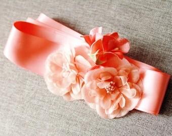 Bridal Coral Flowers Sash Belt - Wedding Dress Sashes Belts - Flowers Ribbon Belt