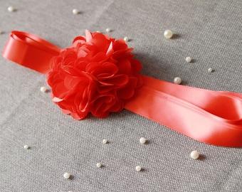 Red Flower Sash Belt - Wedding Dress Sashes Belts - Bridal Bridesmaids Flower Girl Ribbon Belt