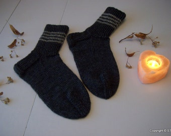 Mens GENEROUSLY sized, Warm Durable Cozy, handknitted boot socks, dark gray with stripes, Machine washable, gift idea, Handmade in FINLAND