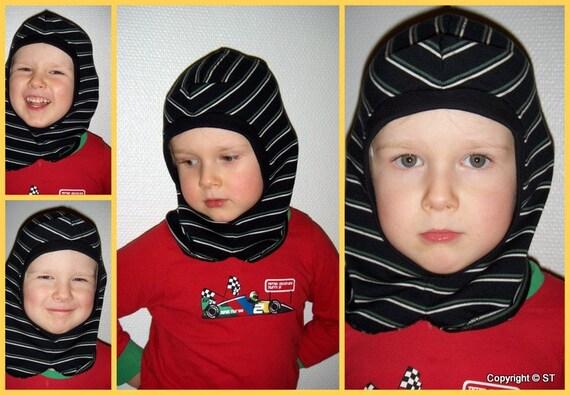 Boys on wheels -Hat helmet hood HAT Under hat One size 2-5y old children One Kids Blue Eco-friendly cotton tricot hat Handmade in FINLAND