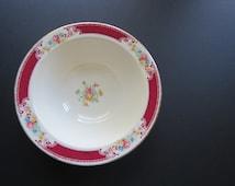 Vintage China Serving Bowl // Homer Laughlin China Co. Brittany Shape Maroon Burgundy Trim Rose Floral Pattern Vegetable Side Dish Bowl