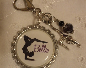 Personalized Gymnastics bag zipper pull with charms