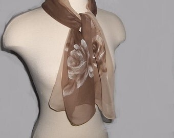 Vintage Silk Scarf, Silk Chiffon Scarf, Hand Painted Roses, Elegant