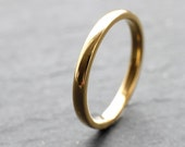 18ct Yellow Gold Wedding Ring For Women, In D-shape Profile, 2mm Wide, Slim Wedding Ring, Shiny Finish