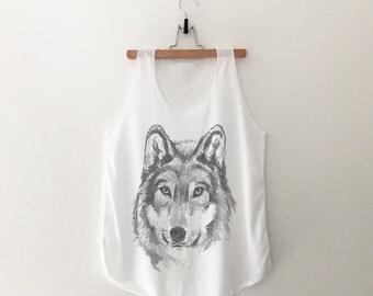 Wolf Shirt Animal Print Shirt Graphic Tanks top for Womens gift for her Sleeveless Screen Print Tshirt
