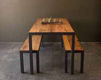 Reclaimed Furniture / Dining Table & Benches / Reclaimed Barn Oak And Steel