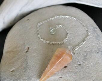 Reiki Attuned Orange Aventurine Pendulum or Necklace