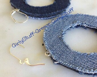 Reversible Denim Jean Fabric Hoop Earrings, handmade,  recycled denim / jean, two sided,  interchangeable, made to order, made in Greece