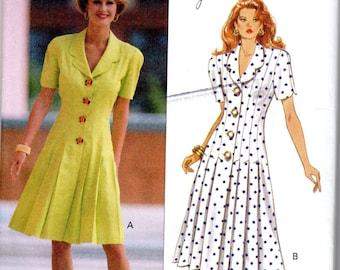 "Easy Women's Fitted Dress Pattern - Size 14, 16, 18, Bust 36"", 38"", 40"" - Butterick 6132 uncut"