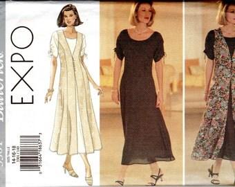 """Easy Women's Long Dress & Vest Pattern - Size 14, 16, 18 Bust 36"""", 38"""", 40"""" - Butterick 3301 uncut"""