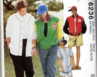 "Men's, Women's, Teen's Bomber Jacket, Baseball Shirt, Pants & Shorts Pattern- Size X-Small, Bust 30 1/2"" to 31 1/2"" - McCall's 6236 uncut"