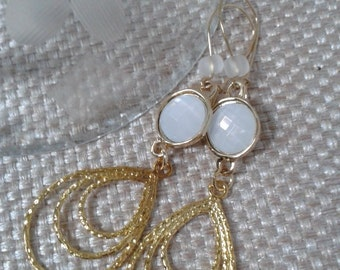 Modern, Wedding, White Opal Stone with a Fixed Teardrop Connector Dangle Earring with Gold Kidney Jewelry EarLoop