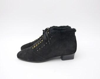 Vintage black suede heeled fur boots with golden details