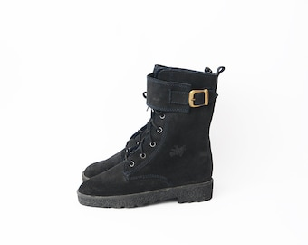 Vintage suede black women flat lace up combat boots