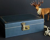 Vintage Blue Jewelry Box with Blue Velvet And Satin Interior