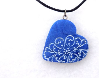Valentines Day Blue Lace Heart Necklace, Handmade Polymer Clay Jewelry, Pendant