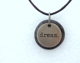 Dream Necklace, Word Pendant, Polymer Clay Inspirational Jewelry