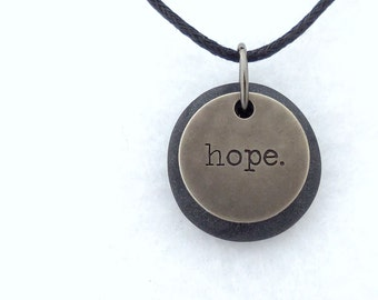 Hope Necklace, Word Pendant, Polymer Clay Inspirational Jewelry