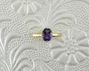 Oval Amethyst Solitaire; 10 Karat Yellow Gold Amethyst Ring; Oval Amethyst Ring;