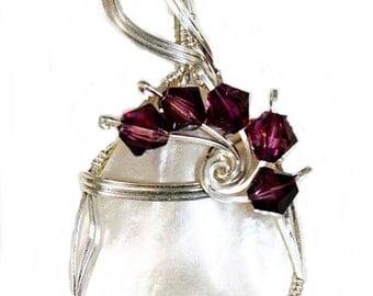 Pearl Pendant Amethyst  Swarovski Crystals Sterling Silver Pendant Women's Pendants