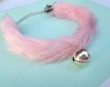 Pink Bell Choker Necklace, Collar with Bell Fluffy Choker, Fur Kitten Play Collar, Cat Neko Collar Kitty Collar Kawaii Chocker Kitty Bell
