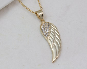 Gold Angel Wing Necklace, Choose Chain. CZ  Wing Necklace. Gold Over Sterling Silver Wing Gold Filled chain, Gold Angel Wing Jewelry