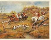 Auf den Spuren - Vintage 1950s Artist-signed Foxhunting Postcard