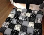 Custom Office Chair Cushion in Sophisticated Black and White Fabrics - Seat Cushion - Handmade Cushion