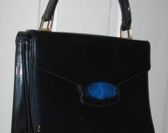 MEYER'S Midnight BLUE Patent Leather HANDBAG // 50's Estate 60's Hipster Retro Ocean Purse Costume Housewife Rockabilly Pin Up