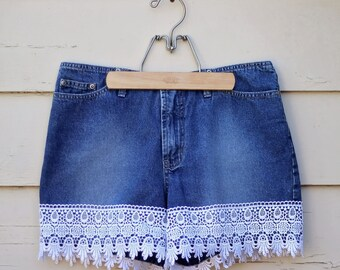 Upcycled Denim Shorts with Lace Higher Waist Vintage Jean
