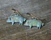 Verdigris Pig Earrings on Niobium Earwires ... small aged brass pigs on oxidized hypoallergenic french ear wires for sensitive ears