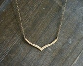 Curvy Chevron Necklace ... two tone brass necklace