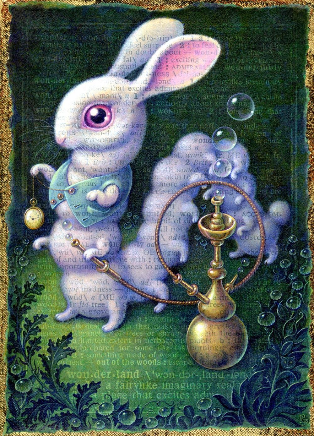White Rabbit art print 7.5x10 Surreal Wonderland Rabbit/
