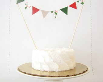 Holly Berry Cake Topper - Fabric Cake Bunting - Winter Wedding, Birthday, Christmas Party, Shower Decoration red pine green burlap rustic
