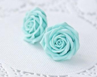 Light blue flower earrings, blue rose earrings, blue rose stud earrings, blue earrings, wedding earrings, womens earrings, earring studs