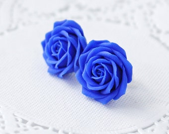 Royal blue flower earrings, blue rose earrings, blue rose stud earrings, blue earrings, wedding earrings, womens earrings, earring studs