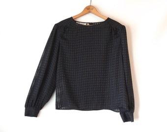 80s Sheer Black Blouse / Sheer Striped Top / Metallic Thread / Long Sleeves / Black Semi-Sheer Top / Black Striped Blouse / Chaus / Medium