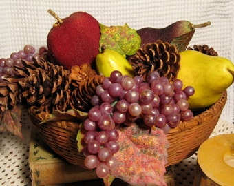 Vintage Basket with Fall Fruit and Pinecones - Pears, Apple, Grapes, Pinecones and Vintage Basket - Autumn Fruit and Pinecone Display
