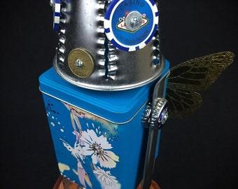 """Robot Sculpture """"Blue Morpho"""" Found Object Art - Folk Art - Junk Art by Kurth"""
