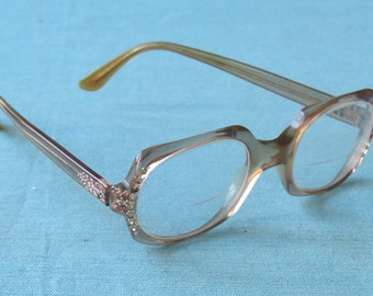 Vintage Late 1960s |  Champaign Plastic Eyeglasses | Pink and Silver Rhinestones | Shuron