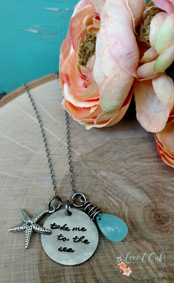 Take me to the sea hand stamped necklace beach by love1oak for How do you make hand stamped jewelry