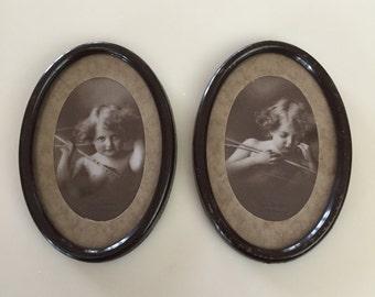 Petite Antique 1897 Cupid Awake & Cupid Asleep Framed Photographs - Set