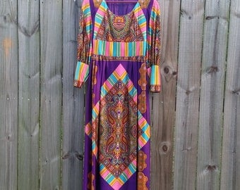 XS S Extra Small Petite Vintage 60s 70s Long Sleeve Psychedelic Groovy Hippie Flower Power Trippy Boho Statement Scarf Print Maxi Dress